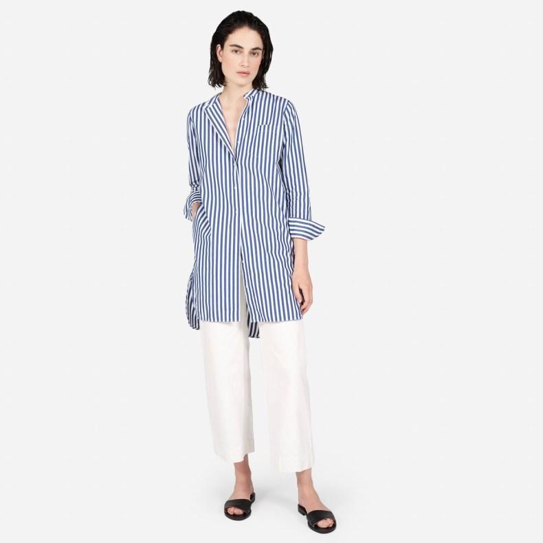 The Cotton Poplin Collarless Shirt Dress