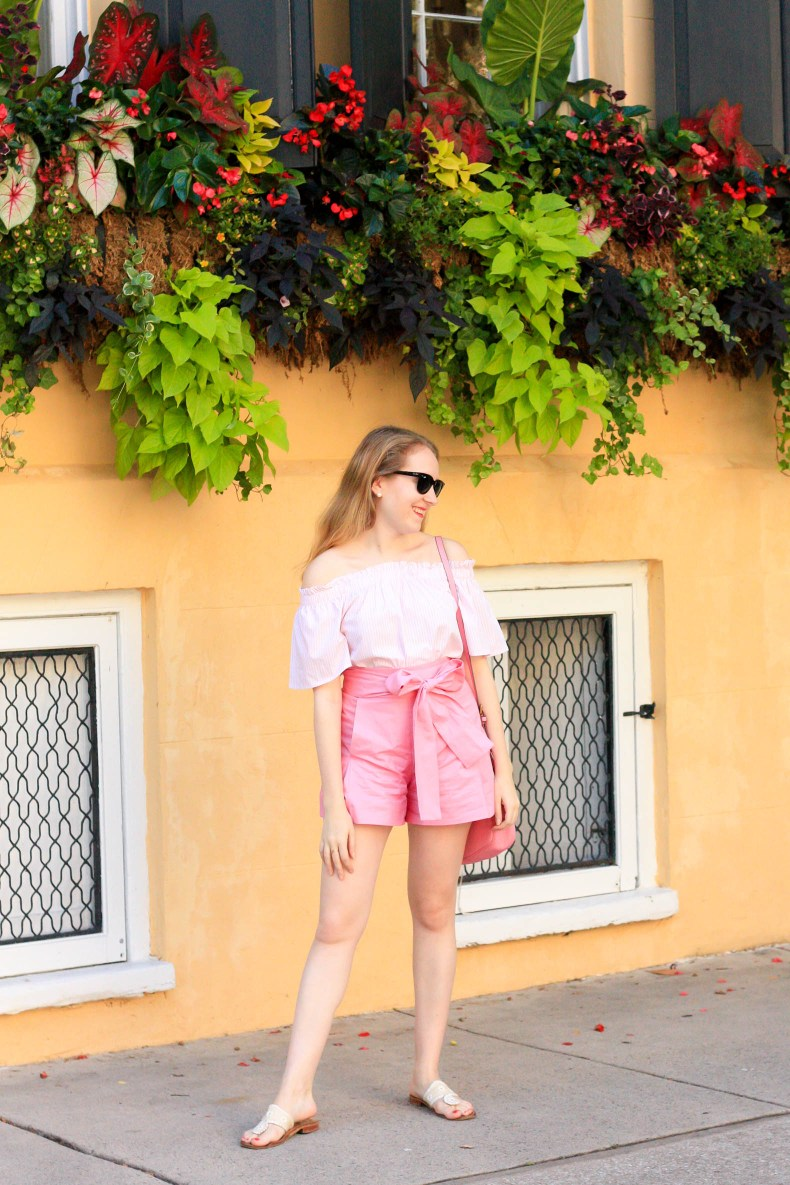 J.Crew Pink Bow Shorts, J.Crew Signet Bag in Charleston // Pearl Girl