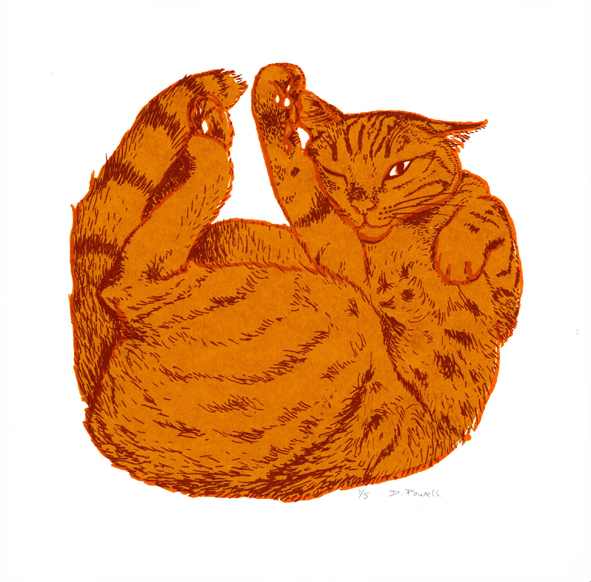 'One eye' cat screenprint