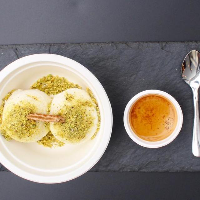 Adffogato with yummy bits of pistachio at dripaffogatobar Slurped uphellip