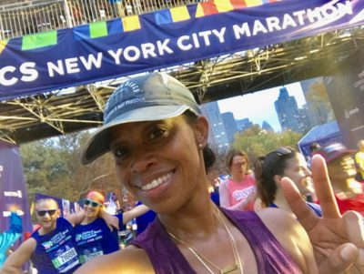 Diane at the NYC Marathon finish line