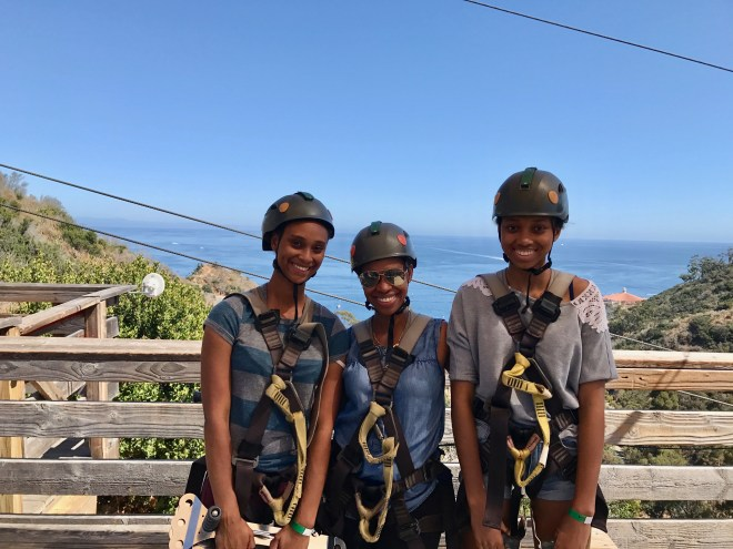 Catalina Island - Diane and girls awaiting zipline