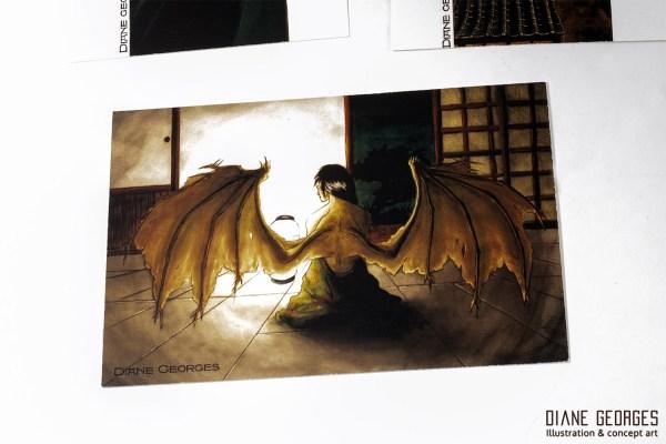 Mutant winged women postcard