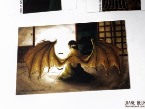 Mutant winged women postcard