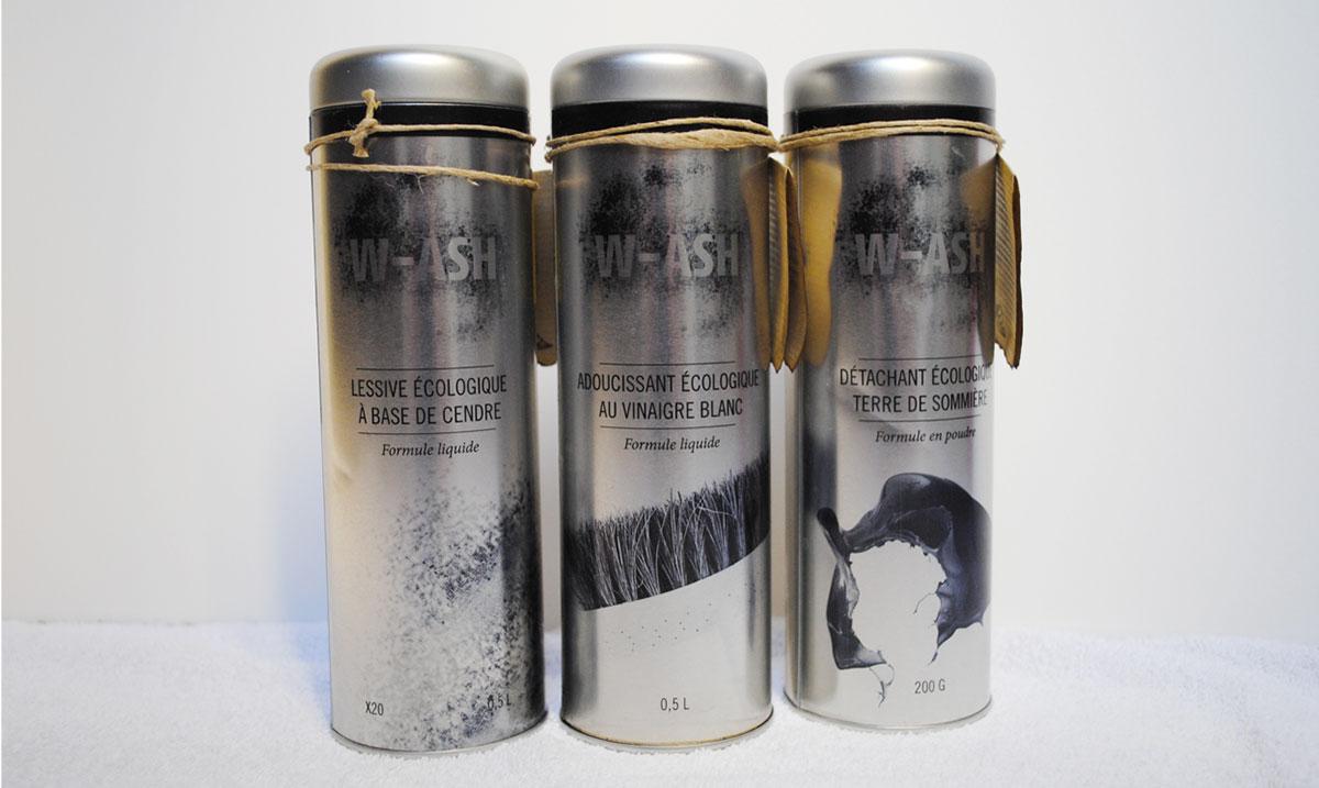 3 packagings concept WASH lessive écologique