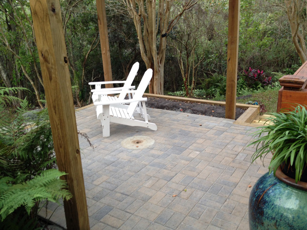 sharpening stone medallion in paver patio