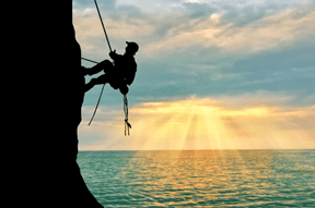 Your Inner Strength: Persistence Man climbing Cliff