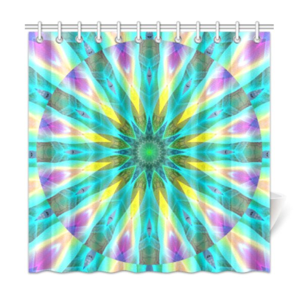 Golden Violet Peacock Sunrise Abstract Wind Flower Shower Curtain