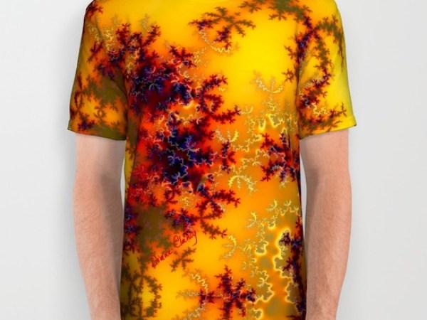 Golden Sun Gate, Abstract Fractal Asian Illusion All Over Print Shirt