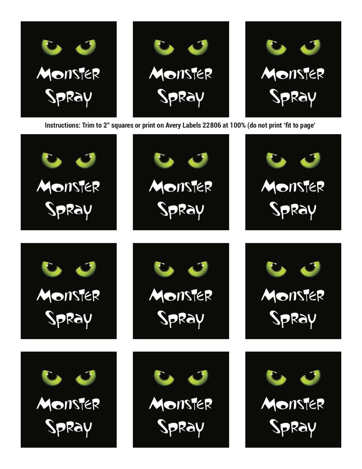 Monster Spray Labels