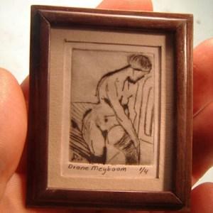 Miniatuur etsen van Diane Meyboom - Ets van vrouw met kous