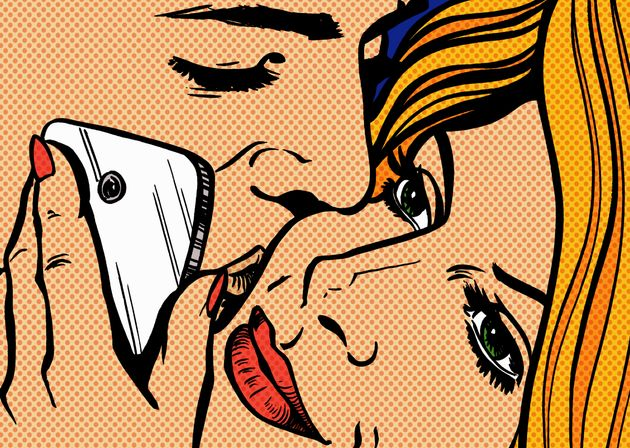pop art image of man kissing woman on cheek holding mobile phone