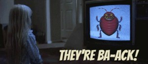 "Bedbugs 101: image of a girl watching a television with a picture of a bedbug. Caption reads, ""They're Ba-ack!"""