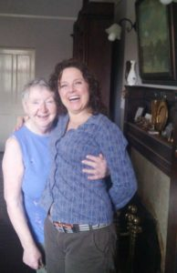 Ireland101: image of Diane with Dierdre, owner of Woodley B&B in Gort, Ireland.
