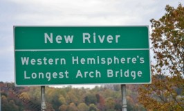 Crossing over Fear: Image of New River Gorge Bridge sign.