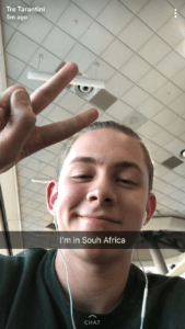 Empty Nest 102: SnapChat image of a young man in a South Africa airport.