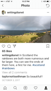 Empty Nest 102: Instagram image of rainbow in Scotland