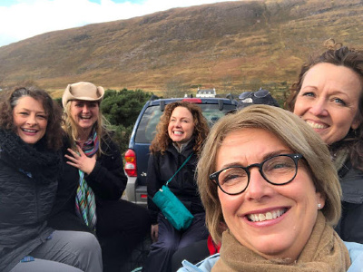 Scotland Revisited: Image of ladies in truck trailer.
