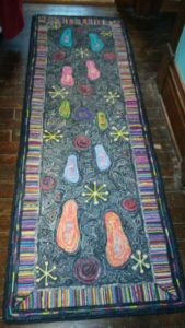 Whole-Hearted Life: image of a 7-ft. rug-hooked runner by Diane Tarantini