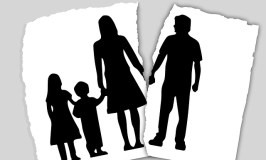 When Dad Is Bad: silhouettes of a mother and two children separated from their father
