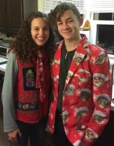Adult Kids: Image of two adult kids in ugly Christmas clothing.