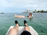 Diane Traffas floating in the Caribbean
