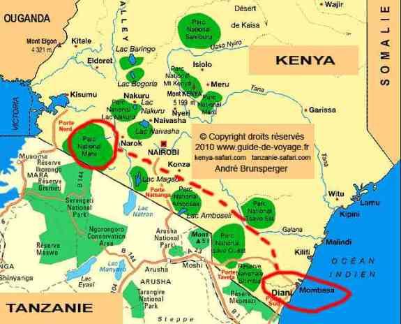 Carte - Safaris au Masaï Mara par avion de Diani