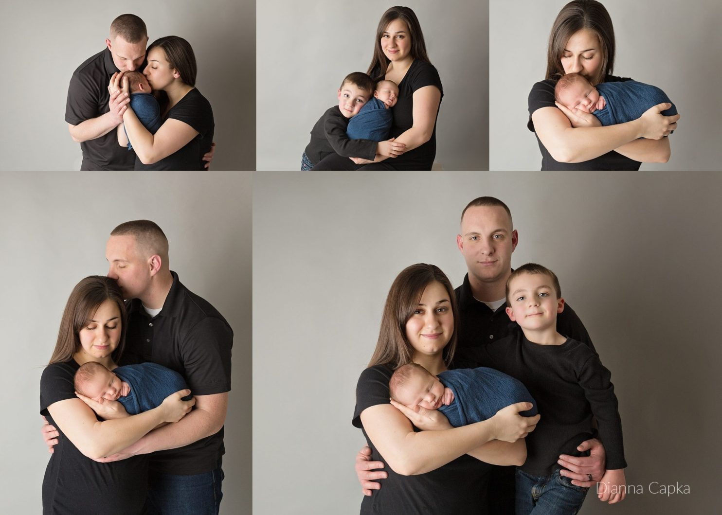 Newborn poses for family of four on gray seamless and black shirts