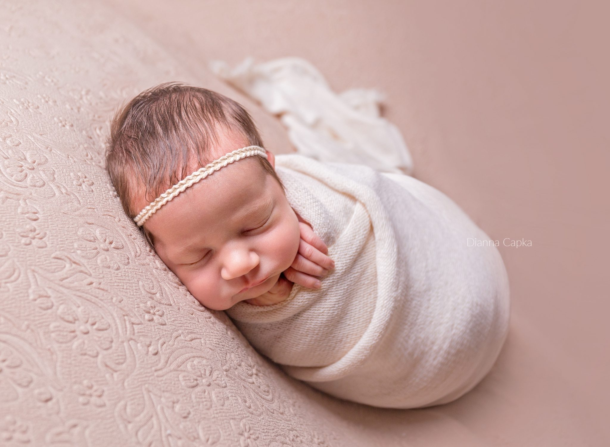 Newborn girl in wrap neutral tones leola pa newborn photographer