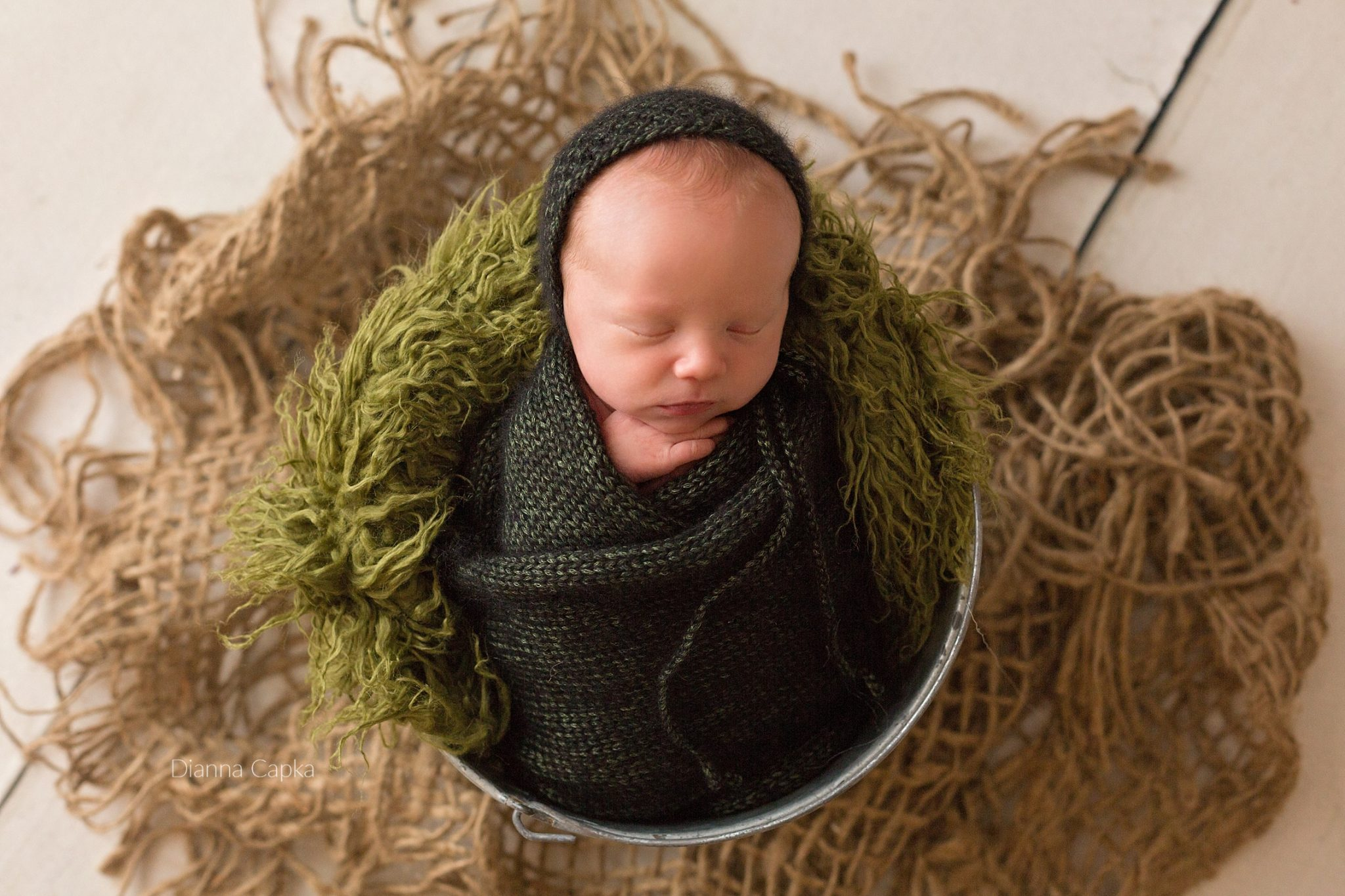 newborn boy in a bucket dark green lancaster baby photograher