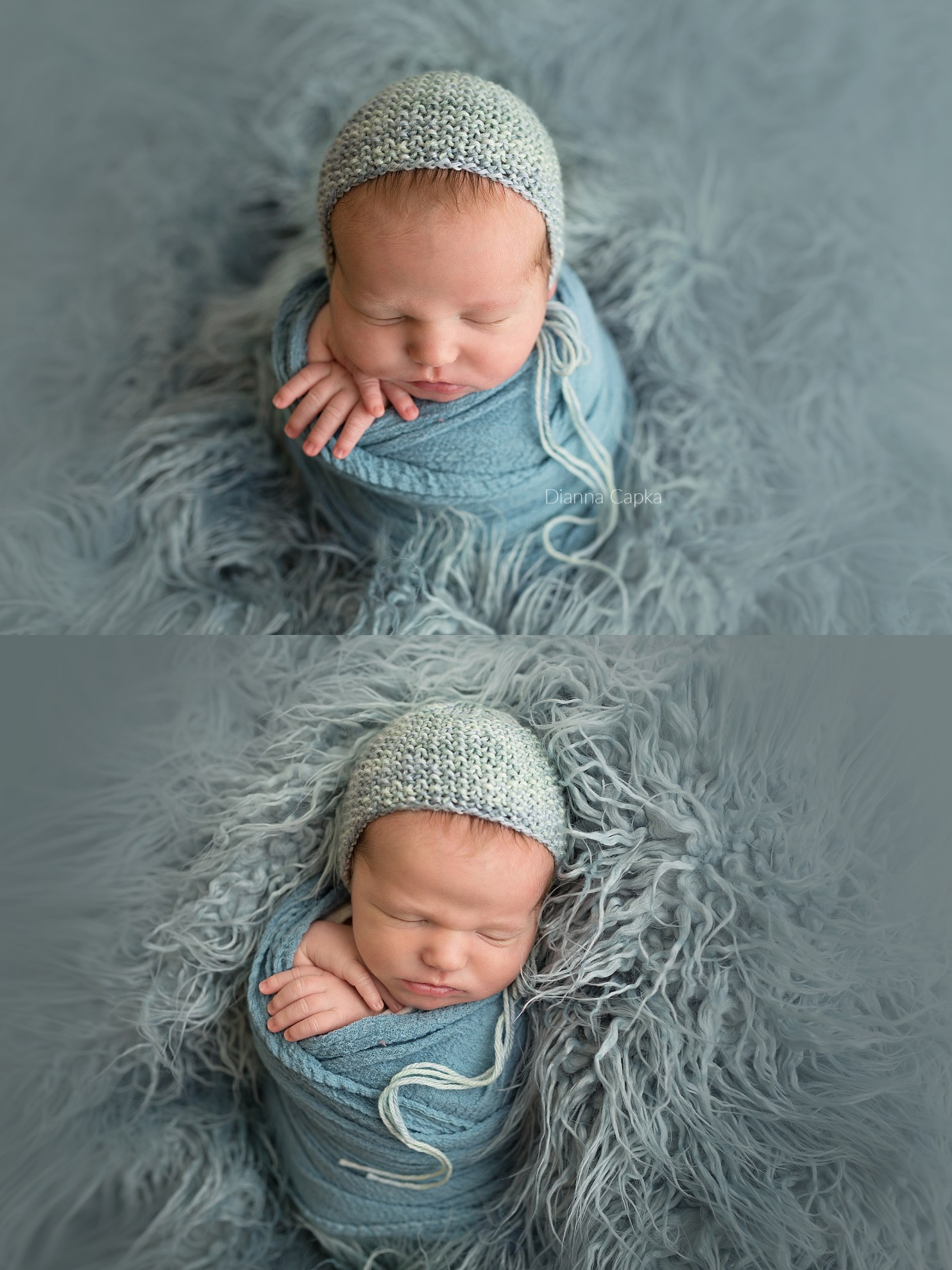 Baby boy in potato sack pose on flokati new holland newborn photographer