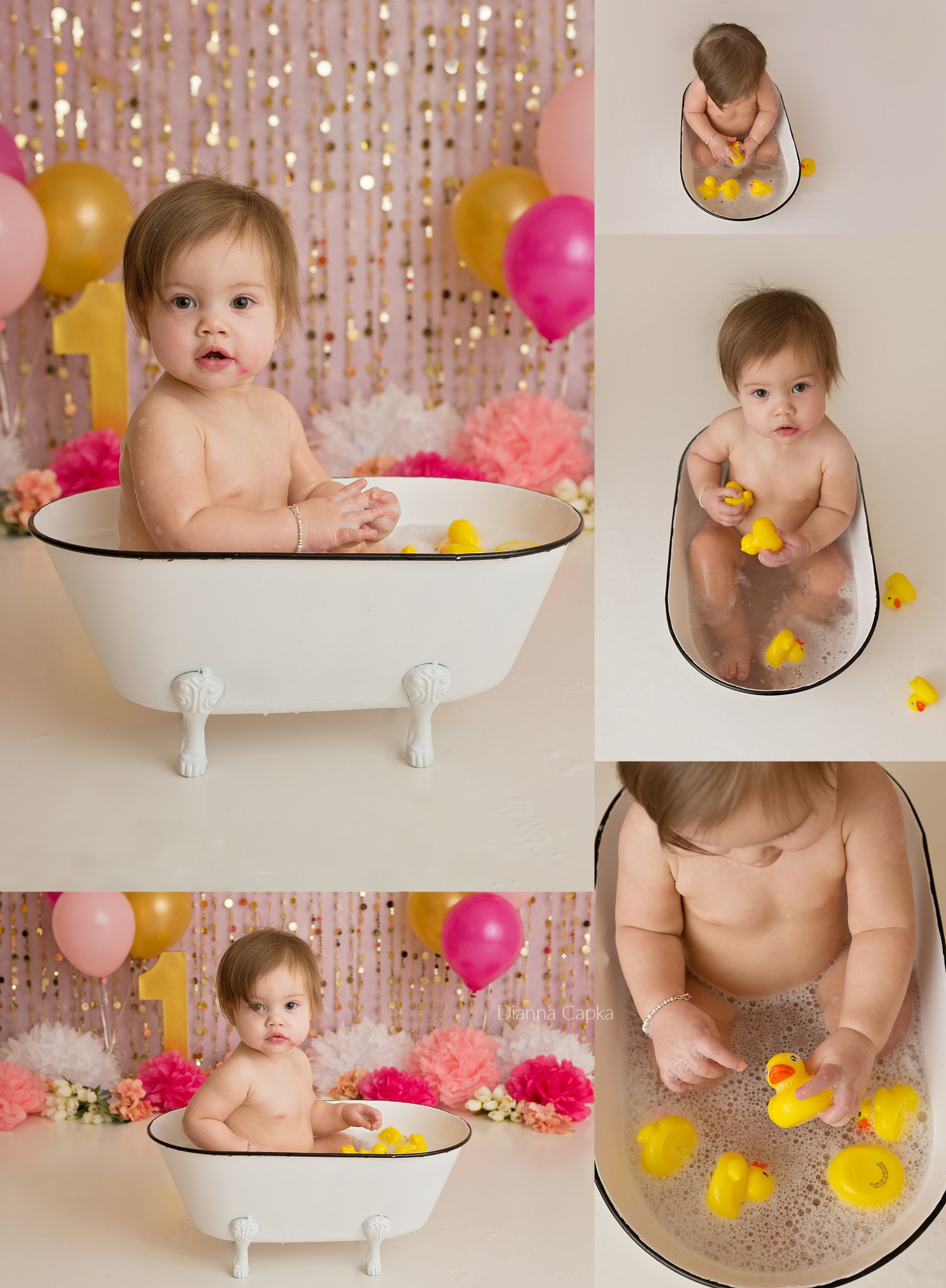 Henley is One Lancaster one year portrait photographer splash and bath with rubber duckies