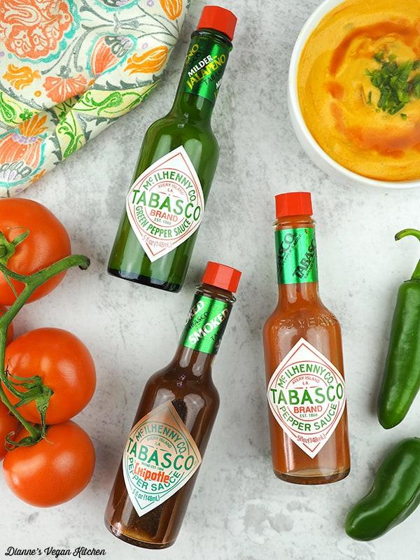Vegan Queso with TABASCO® bottles