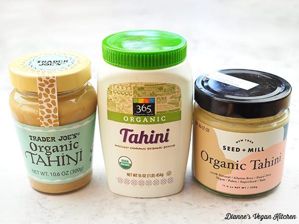 jars of store-bought tahini