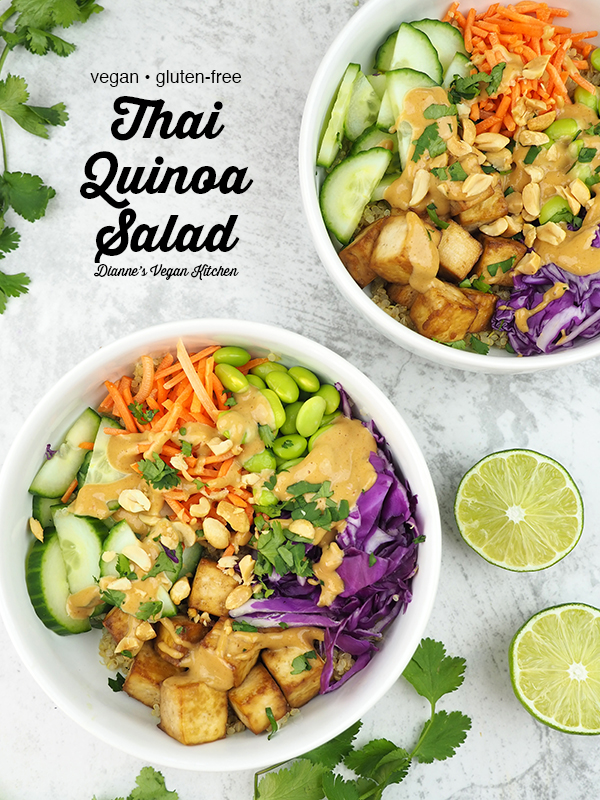 Thai quinoa salad with text overlay