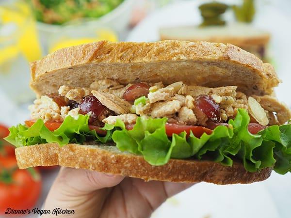 Vegan Chicken Salad Sandwich in my hand