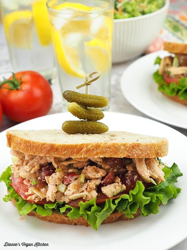 Vegan Chicken Salad Sandwich on plate