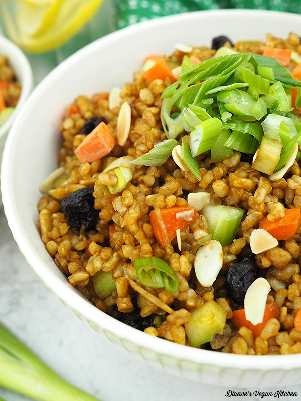 close up of brown rice salad
