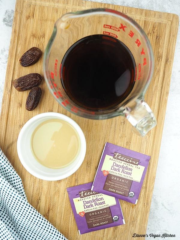 teeccino, dates, and tahini