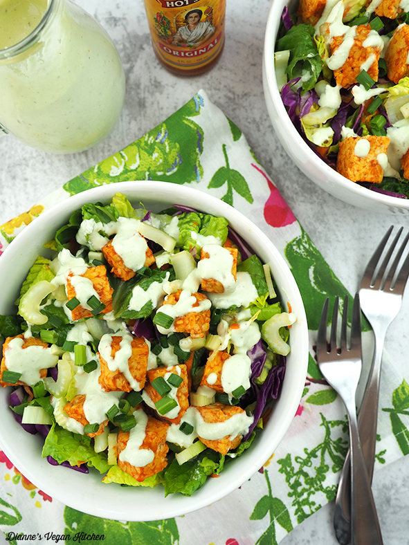 Buffalo Tempeh Salad from above with vegan ranch dressing