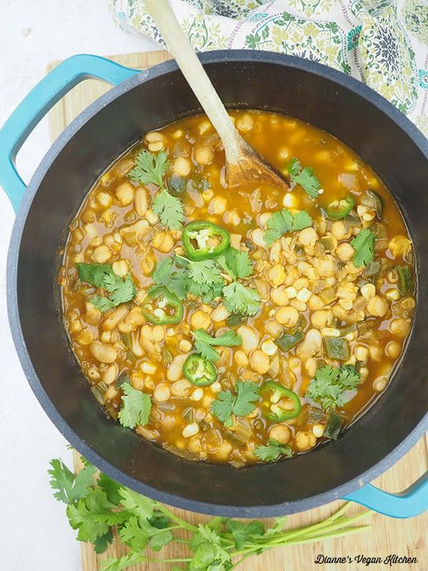 vegan white bean chili in the pot