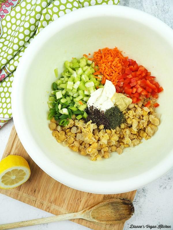 chickpea salad ingredients in bowl