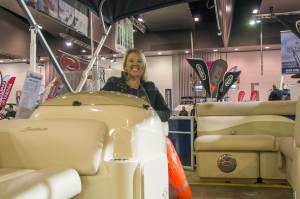 Dianne at Melbourne Boat Show 2015 - on pontoon boat