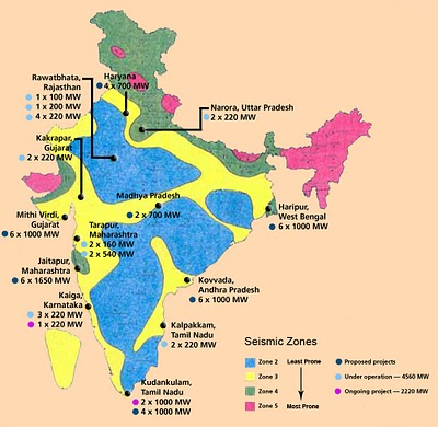 India: Nuclear and seismological map | DiaNuke.org