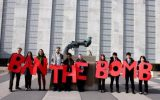 """A """"ban the bomb"""" sign outside of the United Nations headquarters in New York City. (Twitter)"""