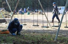 Workers at a school ground in Namie Town, Fukushima prefecture, Japan. In March 2017 the Japanese government opened this area of Namie for people to return. Greenpeace radiation surveys in October 2018, showed high levels of contamination in the forests surrounding this school. Over 70,000 workers have been employed in recent years in Fuksuhima. United Nations Special Rapporteurs on human rights warned in 2018 of the urgent situation for workers, including homeless, who were reportedly being exploited by hundreds of sub contractors. This area of Iitate was opened by the government in March 2017, but still radiation levels remain high in areas of Iitate and above government decontamination targets.
