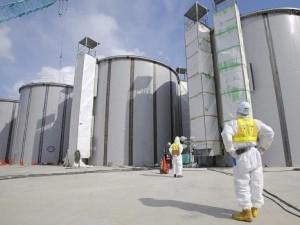 A few of the countless water tanks at Fukushima