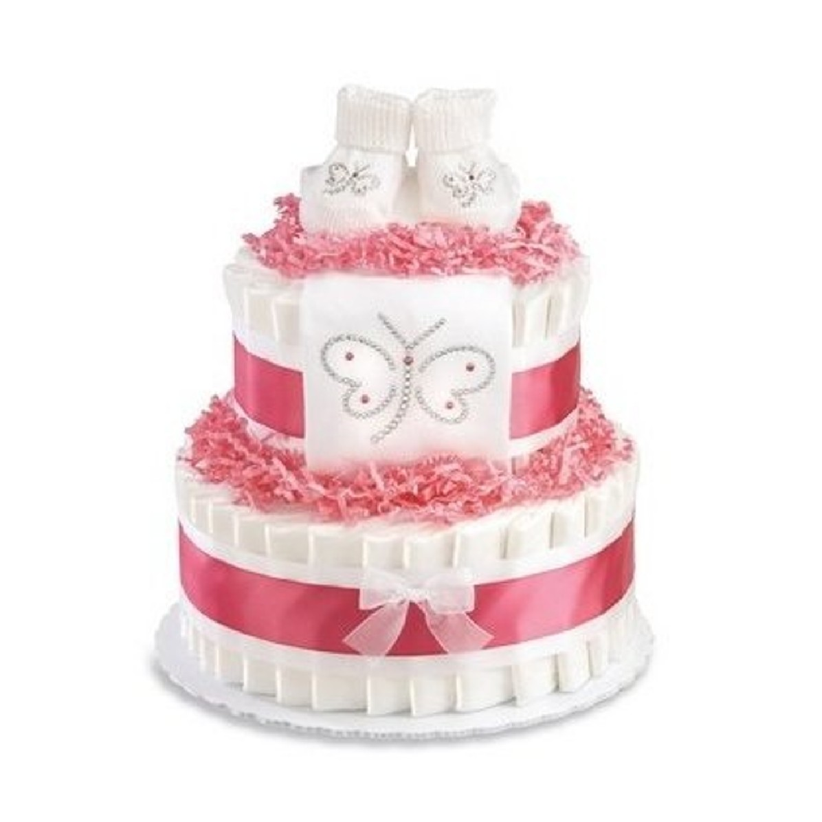 Pink Butterfly Diaper Cake For Girls