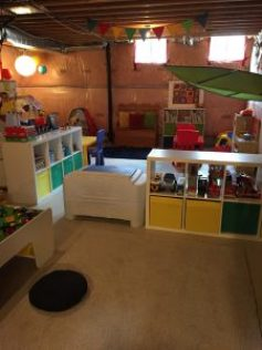 playroom. lighting, unfinished basement
