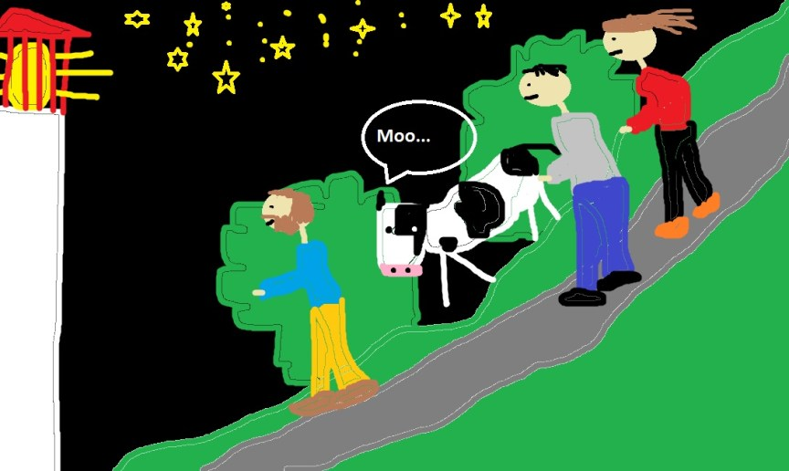 A depiction of our descend down to the lighthouse (and yes I know my MS Paint skills are amazing!)